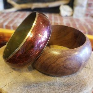 Vintage chunky wood and red enamel bracelet set 2